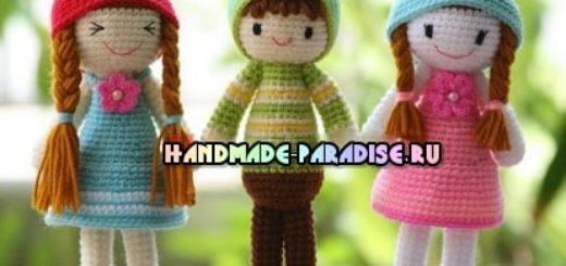 Три подружки - куколки амигуруми. Описание