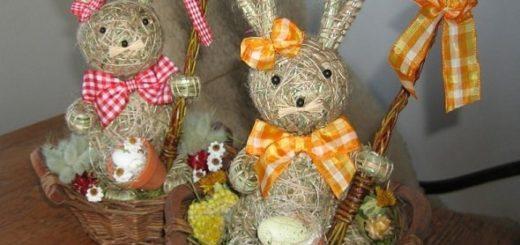 Зайцы и кролики из сена и соломы
