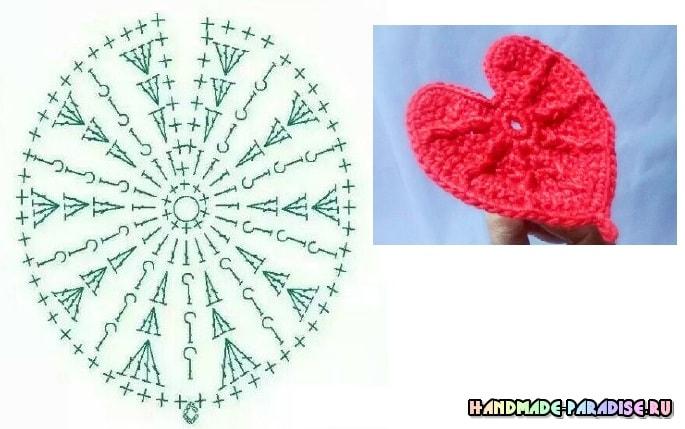 Антуриум или цветок Фламинго крючком. Схема (3)