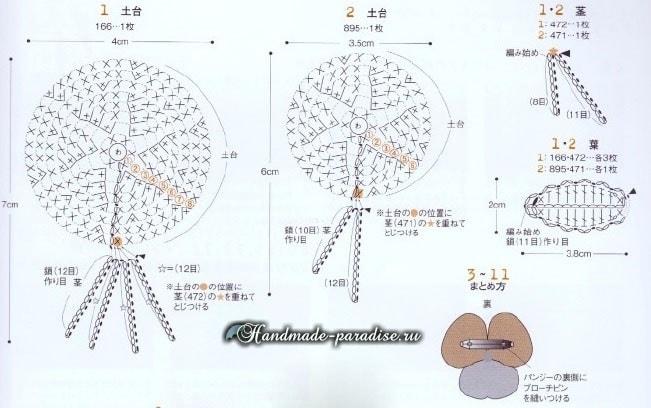 Анютины глазки крючком. Схемы вязания (2)