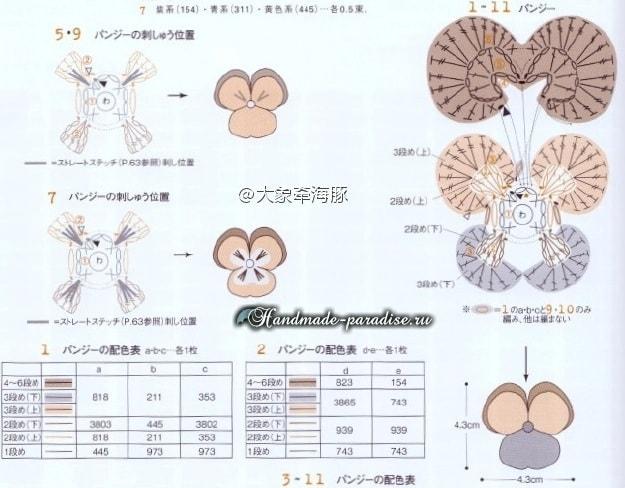 Анютины глазки крючком. Схемы вязания (6)