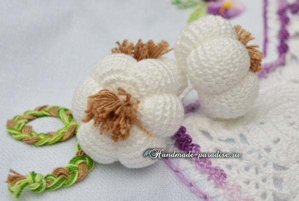 Чеснок крючком для декорирования кухонного полотенца (5)