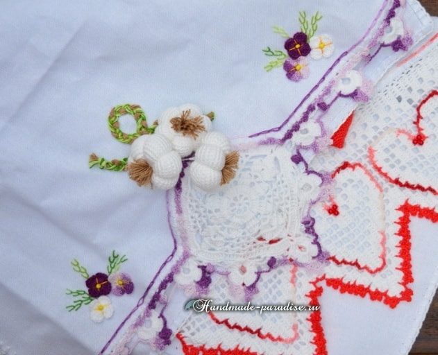 Чеснок крючком для декорирования кухонного полотенца (6)