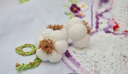 Чеснок крючком для декорирования кухонного полотенца (7)