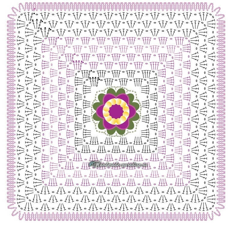 Декоративная подушка крючком из пряжи «травка» (5)