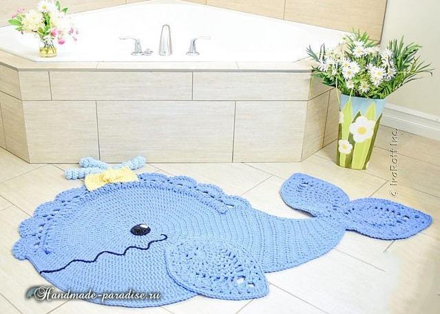 Дельфин - коврик крючком для ванной комнаты (3)