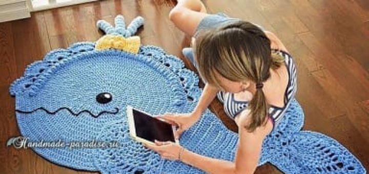 Дельфин - коврик крючком для ванной комнаты