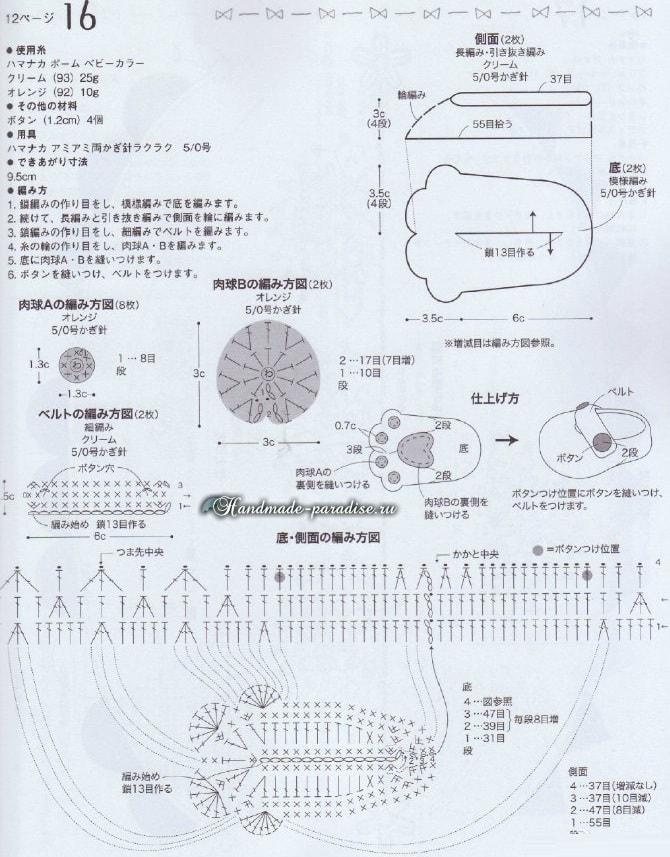 Детские тапочки и варежки «Кошачьи лапки» крючком (1)
