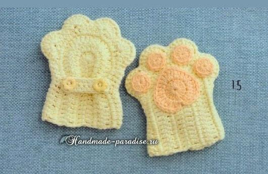 Детские тапочки и варежки «Кошачьи лапки» крючком (2)