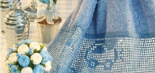 Детское полотенце с машинками филейным вязанием (1)