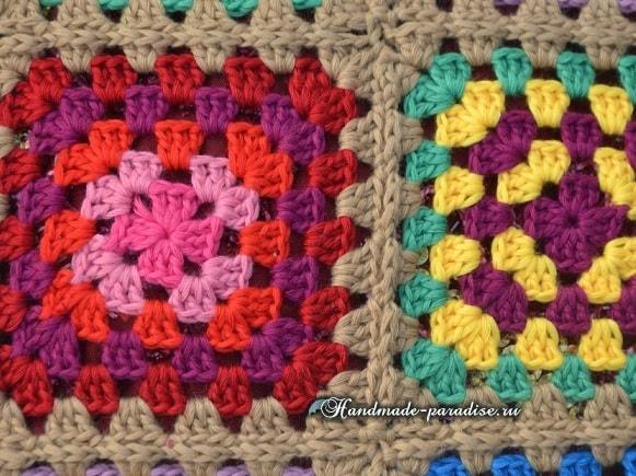 Интерьерная подушка бабушкиными квадратами (4)