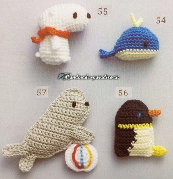 кит тюлень белый медведь и пингвин крючком