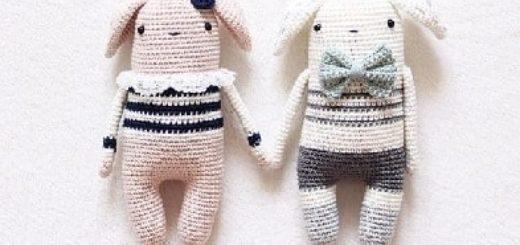 Кролики амигуруми. Девочка и мальчик (1)