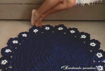 Круглый коврик «Камелия» из ленточной пряжи (2)