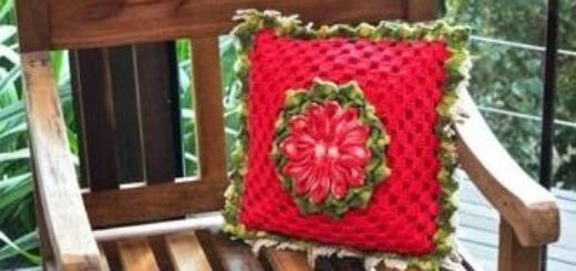 Крючком. Чехол для красной подушки (3)