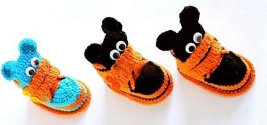 Крючком. Детские ботиночки с мишками (1)