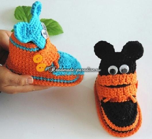 Крючком. Детские ботиночки с мишками (6)