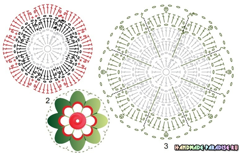 Крючком. Коврик «Красные розы на белом снегу» (1)