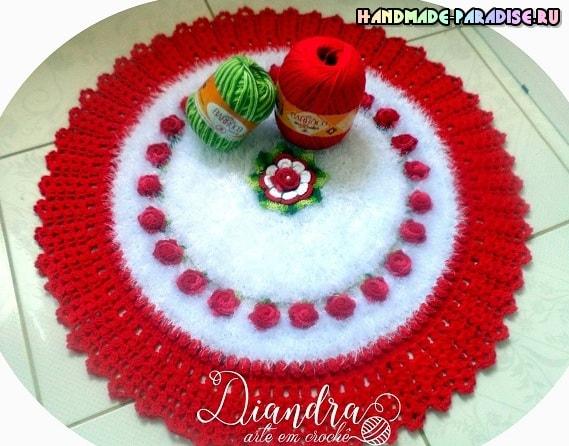 Крючком. Коврик «Красные розы на белом снегу» (5)