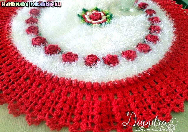 Крючком. Коврик «Красные розы на белом снегу» (6)