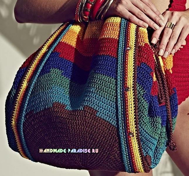Крючком. Красочная сумка-мешок для пляжа (3)