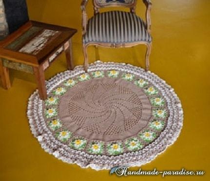 Крючком. Круглый коврик для гостиной (4)