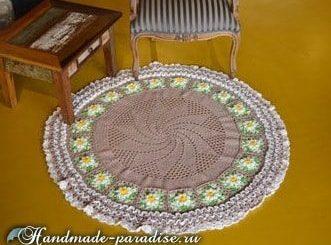 Крючком. Круглый коврик для гостиной (5)
