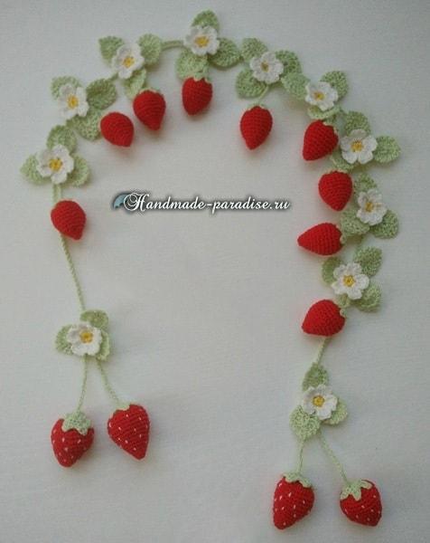 Крючком. Подхваты для штор с цветущей клубникой (2)
