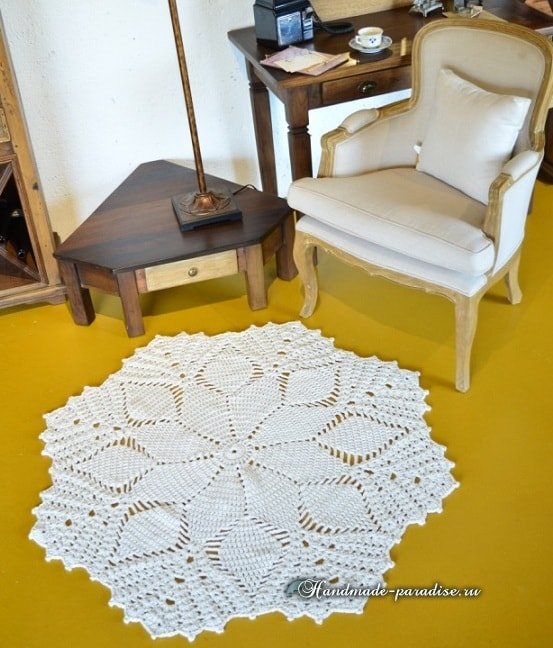 Крючком. Цветочный коврик для гостиной (3)