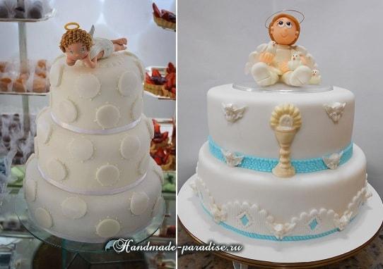 Ангелы из сахарной мастики на торте
