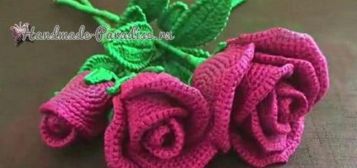 Лиловые розы крючком