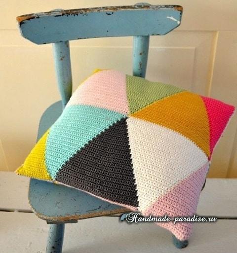Пледы и подушки крючком разноцветными ромбами (1)