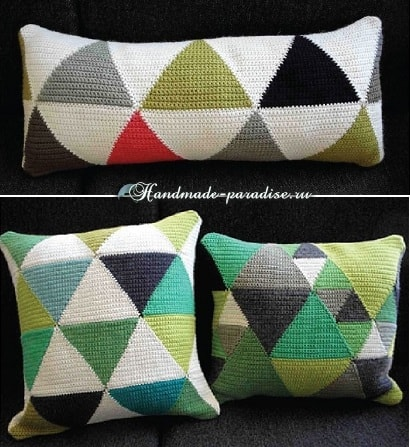 Пледы и подушки крючком разноцветными ромбами (3)