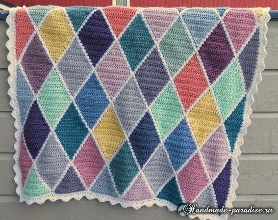 Пледы и подушки крючком разноцветными ромбами (4)