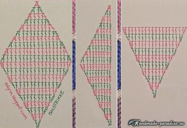 Пледы и подушки крючком разноцветными ромбами (5)
