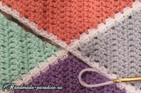 Пледы и подушки крючком разноцветными ромбами (8)