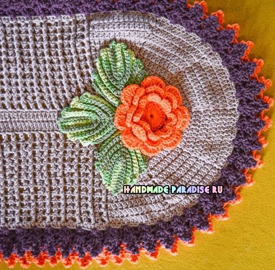 Прикроватный овальный коврик крючком (2)