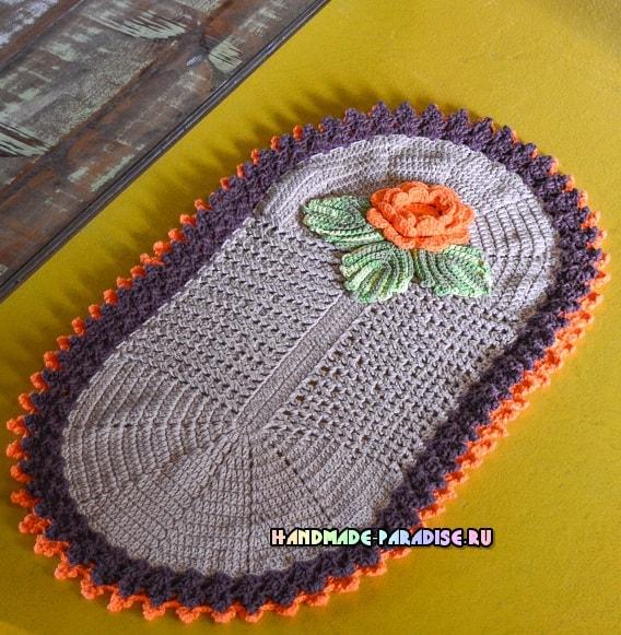 Прикроватный овальный коврик крючком (3)