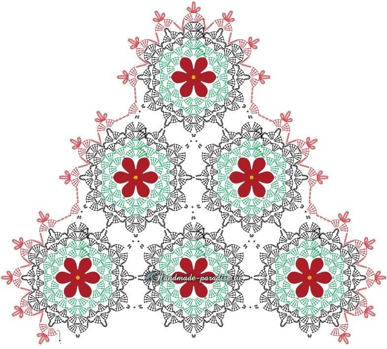 Схема салфетки с красными цветами пуансеттии (5)