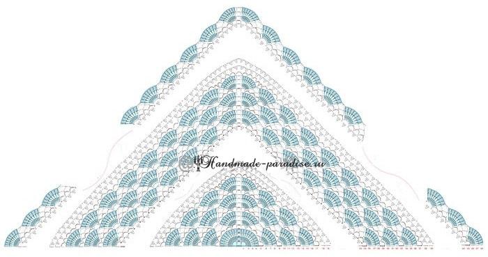 Треугольная шаль крючком. Схема (6)