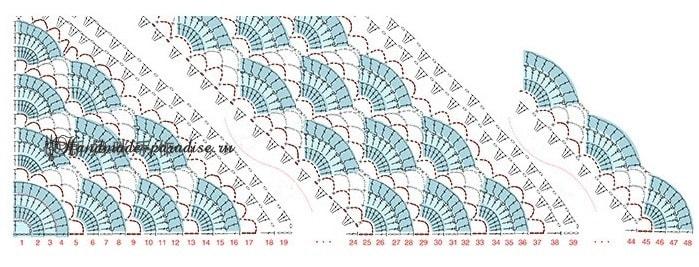 Треугольная шаль крючком. Схема (8)