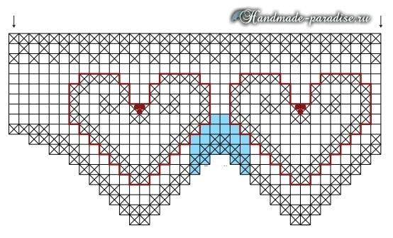 Валентинка крючком для декорирования кухонного полотенца (2)