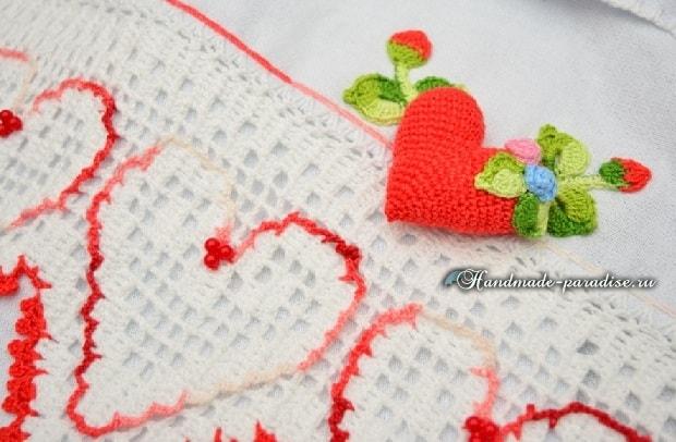 Валентинка крючком для декорирования кухонного полотенца (5)