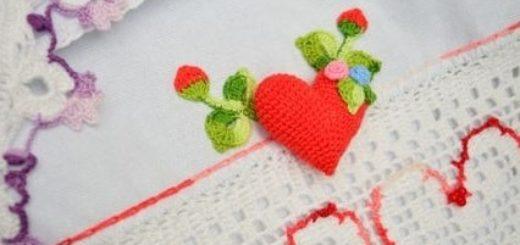 Валентинка крючком для декорирования кухонного полотенца (7)