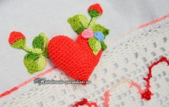 Валентинка крючком для декорирования кухонного полотенца (8)
