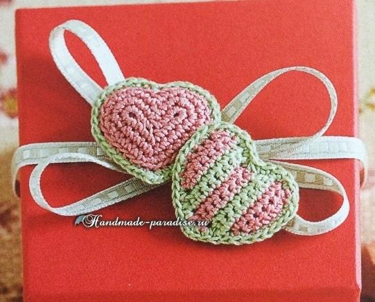 Валентинки крючком для украшения подарка (3)