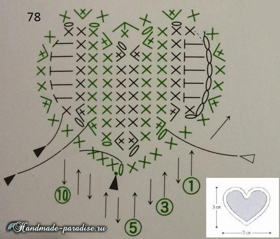Валентинки крючком для украшения подарка (4)
