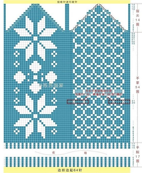 Варежки спицами жаккардовым узором со снежинками
