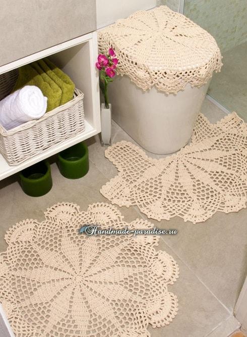 Вязаные коврики для ванной комнаты. Схемы (4)