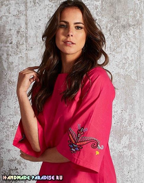 Вышивка на рукавах летней блузы (3)
